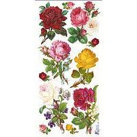 Kaleidoscope Roses Victorian Flora 2 Sheets of Stickers