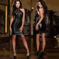 Sexy Women's Leather Mini Dress