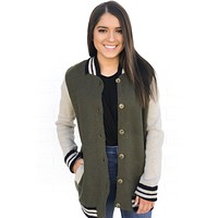 Olive Colorblock Varsity Jacket