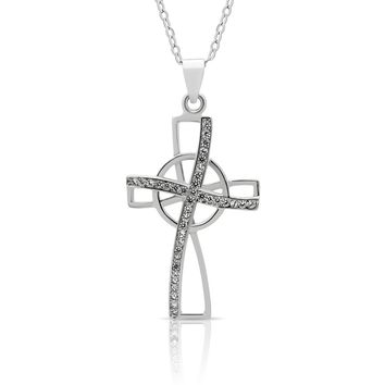 925 Sterling Silver Tiny Cross Necklace, Silver Small Christian Pendant Necklace on Silver Rollo Chain
