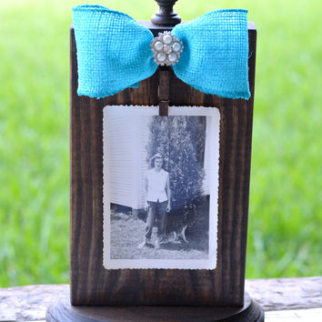 Rustic Wood Burlap Picture Frame - Burlap Picture Display - Wood Photo Holder - Rustic Wood Photo Frame - Wood Picture Display - Home Decor