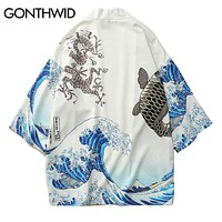 GONTHWID Japanese Crane Printed Kimono Cardigan Jackets 2018 Mens Japan Style 3/4 Sleeve Casual Streetwear Coats Fashion Outwear