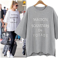 Women's Trending Popular Fashion 2016 Extra Plus Size Loose Round Necked Alphabets Words Shirt Blouse Top Casual Party Playsuit Clubwear Bodycon Boho Top Shrit T-Shirt T-Shirt _ 5472