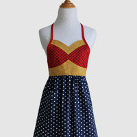 The WONDER HERO Woman's Full  Super Hero Apron - Size SMALL - red, white, blue, yellow, stars