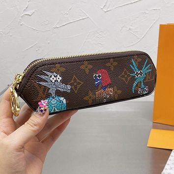 LV Louis Vuitton new letter printing pattern pencil case cosmetic brush bag #4
