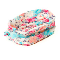 Pastel Floral Print Knotted Turban Headwrap