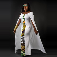 White Spliced Tribal Print Cape Design Dress