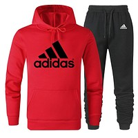 ADIDAS 2019 new solid color men's sports suit two-piece red