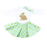 Girls Easter Bunny Outfit with Bodysuit and Twirl Skirt, Mint Gold Polka Dot Outfit with Easter Bunny and knotted headband