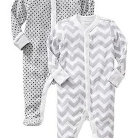 Patterned Footed Sleeper 2-Packs for Baby