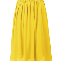 LE3NO Womens Flowy High Waist Retro Double Layer Midi Skirt (CLEARANCE)