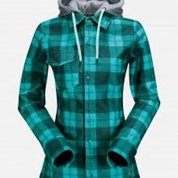 Volcom Womens Circle Flannel Jacket 14-15 (Island Green) Apparel Womens at 7TWENTY Boardshop, Inc