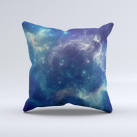 Subtle Blue and Green Nebula  Ink-Fuzed Decorative Throw Pillow