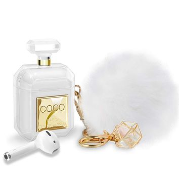 AirPods Case Cute with Keychain & Fur Ball Perfume Bottle Design Silicone Soft Shockproof AirPods 2 Case Cover for Girls and Women Gift - Gold