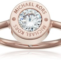 "Michael Kors ""Logo"" Rose Gold-Tone and Crystal Ring, Size 6"