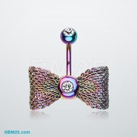 Colorline Mesh Bow-Tie Belly Button Ring