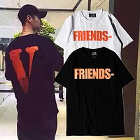 New 2018 Summer Vlone FRIENDS Men Women T shirts Arrive Kanye West Sashion Hip Hop VLONE White T-shirt Cotton Tee
