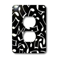 3dRose lsp_165904_6 Music Notes Pattern Black and White Light Switch Cover