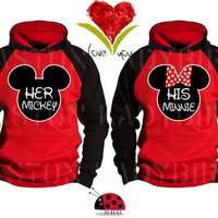 Mickey and Minnie His Her Inspired Soul Mate Couple Disney Perfect Matching Love Set Hoodie Sweatshirt Hoodie- Price For 1 Hoodie -