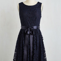 Mid-length Sleeveless A-line Lovely as Lychee Dress in Navy