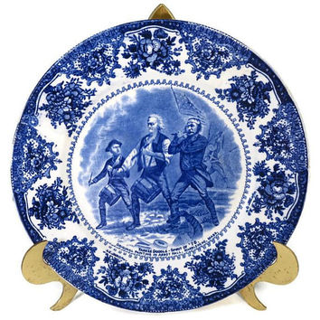 Antique Spirit of '76 Plate, Jonroth English Staffordshire, Marblehead, Massachusetts, Yankee Doodle Painting Collectible