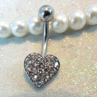 Belly ring, belly piercing ring with cute and tiny crystal heart 14ga