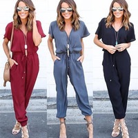 V-Neck Drawstring Wrap Jumpsuit