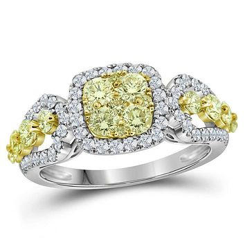 14kt White Gold Womens Round Canary Yellow Diamond Cluster Ring 1-1-3 Cttw