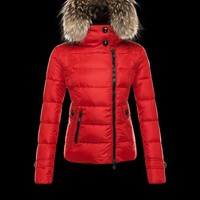 Moncler Fashion women winter red Hooded down jacket