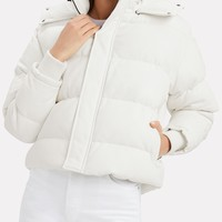 Collyn Leather Cropped Puffer