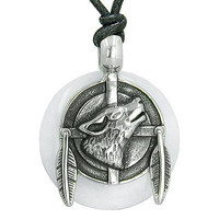 Amulet Howling Wolf and Feathers Medallion Protection Powers White Jade Lucky Do