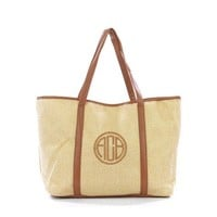 Personalized Beige Long Arm Tote Bag With Leatherette Handles and Trim