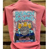 Southern Chics Apparel Beach Bound Jeep Dog Comfort Colors Girlie Bright T Shirt