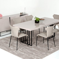 Marta Grey High Gloss Dining Set with Buffet and 6 Chairs