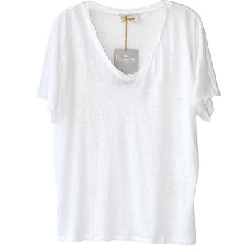 American Vintage White Scoop Neck Tee available at les pommettes los angeles