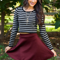 Heartbreaker Skater Skirt in Burgundy
