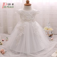 2017 Newborn Baby Dress Flowers Lace Princess Girls Party Birthday Dress Toddler Girl Christening Gown Infant Baby Clothes 0-2Y