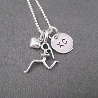 GIRLS Love to RUN XC Sterling Silver Necklace with Sterling Heart - Choose 16, 18 or 20 inch Sterling Silver Chain - Cross Country Necklace