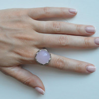 CLEARANCE: Art Deco Concept Ring, Pink Stone Ring, Sterling Silver Ring, Large Cocktail Ring, Silver Cocktail Ring