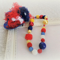 Snow White Adult fascinator hat and adult chunky beaded necklace set, blue bubble gum necklace jewelry, steampunk accessories,
