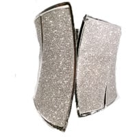 Silver Sparkling Stardust Corset Look Hinged Cuff Bracelet