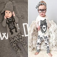 Baby Boy Clothes 2016 Brand Autumn Kids 2 pieces t-shirt+pants Outfits Lovley Toddler Girls Clothing Set Newborn Sport Suits