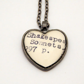 Shakespeare necklace, Shakespeare sonnets, card catalog jewelry, library necklace, poetry jewelry, literature gift, library lovers gift