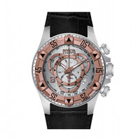 Invicta 11010 Men's Reserve Excursion Rose Gold Tone Bezel Silver Textured Dial Leather Strap Chronograph Dive Watch