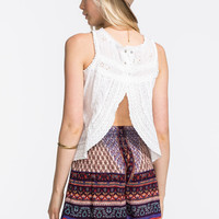 Patrons Of Peace Lace & Eyelet Split Back Womens Tank White  In Sizes