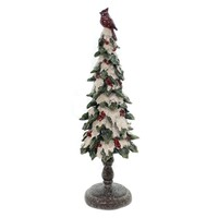 Christmas SNOW TREE W/RED CARDINAL TOP Polyresin Glittered Berries 9733213L