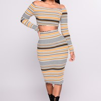 Madeleine Striped Set - Mustard