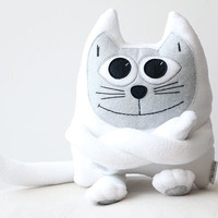 White Fleece Cat adorable soft plush toy
