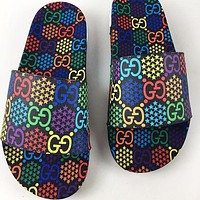 GUCCI New fashion multicolor more letter print shoes flip flop slippers