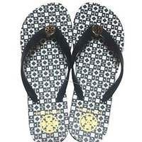 Tory Burch Isidro Flip Flops Shoes Sandals Flat Rubber (black White)